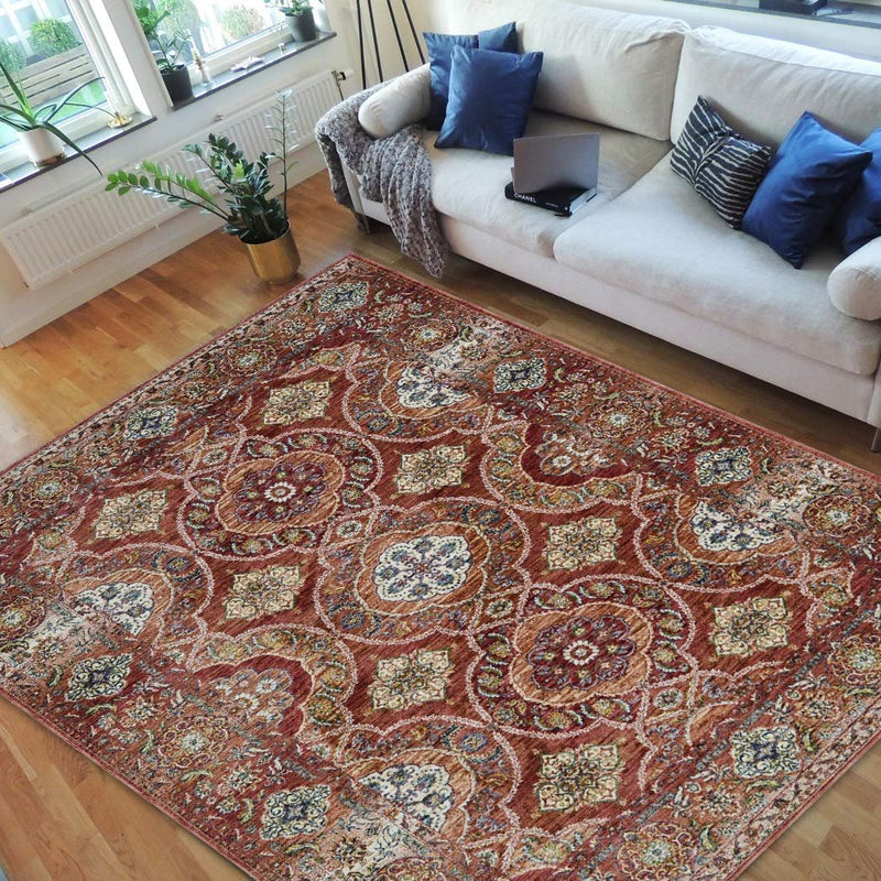 Faded Distressed Contemporary Vintage Persian Area Rug Cherry/Navy Blue/Yellow/Gary