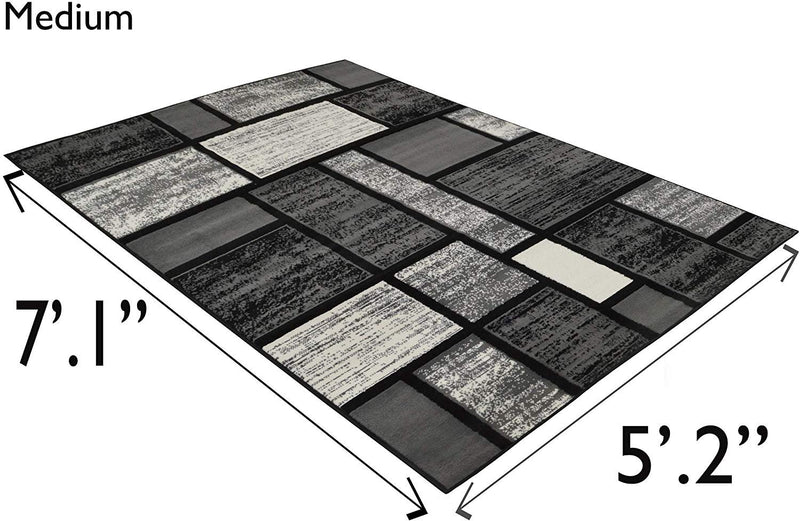 Square Pattern Area Rug Geometric Contemporary Black & Grey
