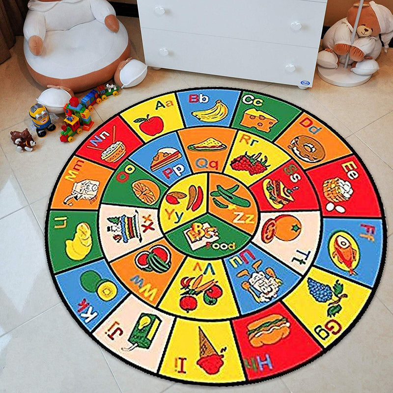Teaching ABC Food/Fruits Kids Educational Play mat Non-Slip Rug for School/Daycare/Nursery