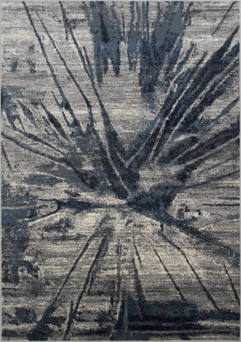 Navy/Gray Splash Abstract Explosion Pattern Distressed- Modern Vintage Area Rug