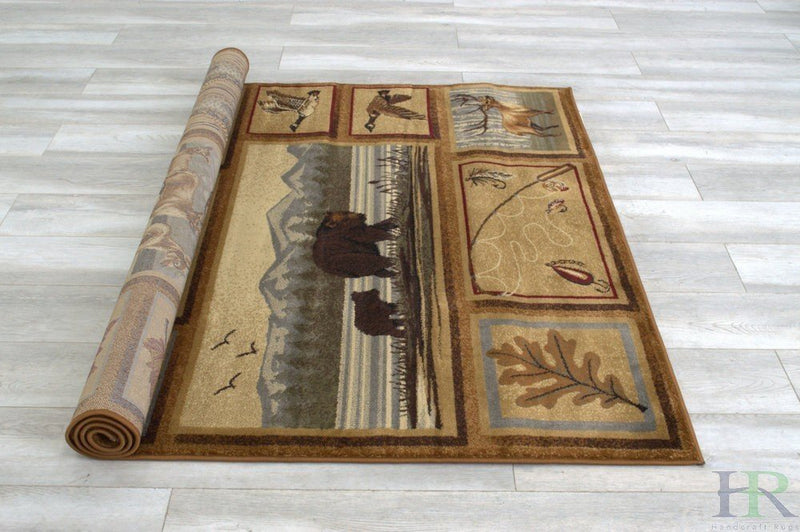 Lodge, Cabin Nature and Animals Area Rug – Modern Geometric Design Cabin Area Rug – Abstract, Multicolor Design– Deer/Fish/Bear/Cabin/Kayak