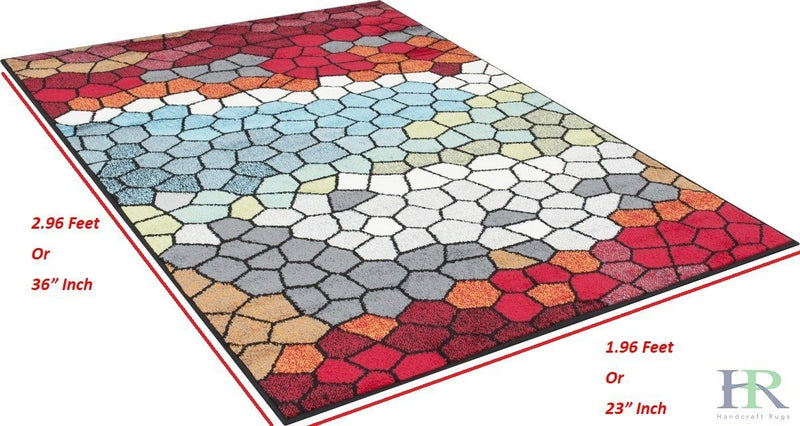 Red/Yellow/Green/Lilac/Blue/Multicolor -Faded, Geometric Area Rug Honey Comb Pattern Area Rug Abstract