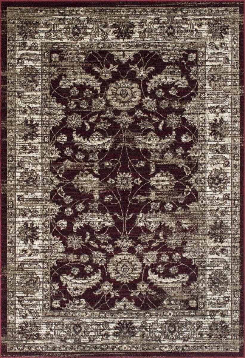 Burgundy Red/Beige Ziegler Pakistan Pattern Distressed – Modern Vintage Area Rug