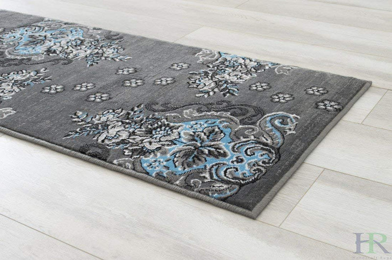 Blue/Grey/Silver/Black/Abstract Area Rug Modern Contemporary Floral and Swirlls Design Pattern