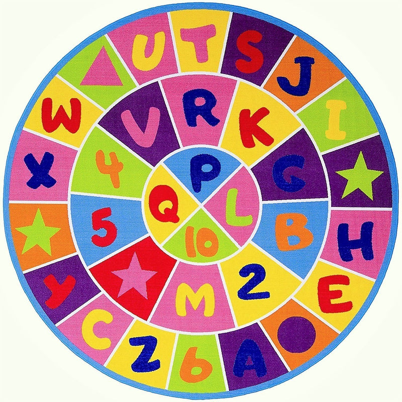 ABC Puzzle Letters and Numbers Kids Educational play mat For School/Classroom / Kids Room/Daycare/ Nursery Non-Slip Gel Back Rug Carpet-(8 feet Round)