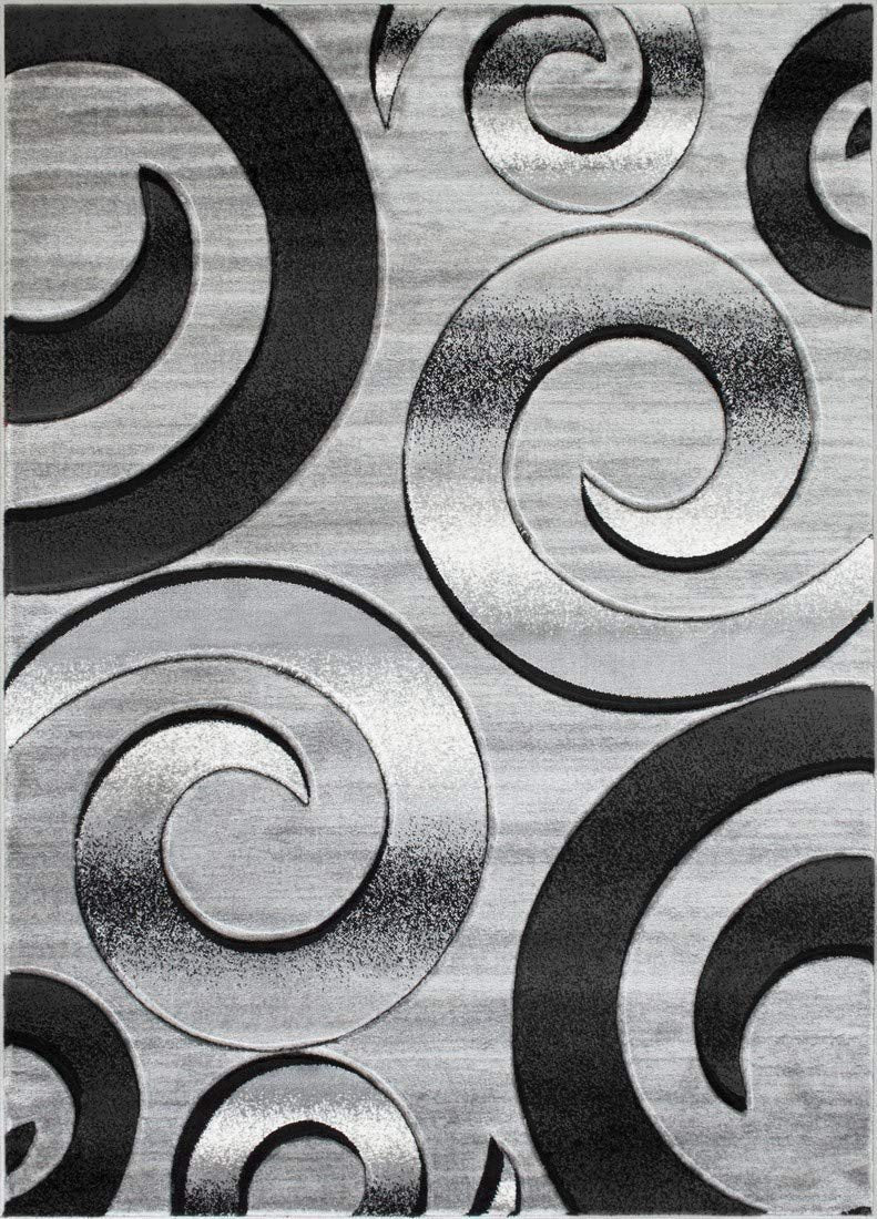 Swirls/Circles/Spiral Modern Abstract Contemporary Hand Carved Area Rug-Silver/Gray/Black
