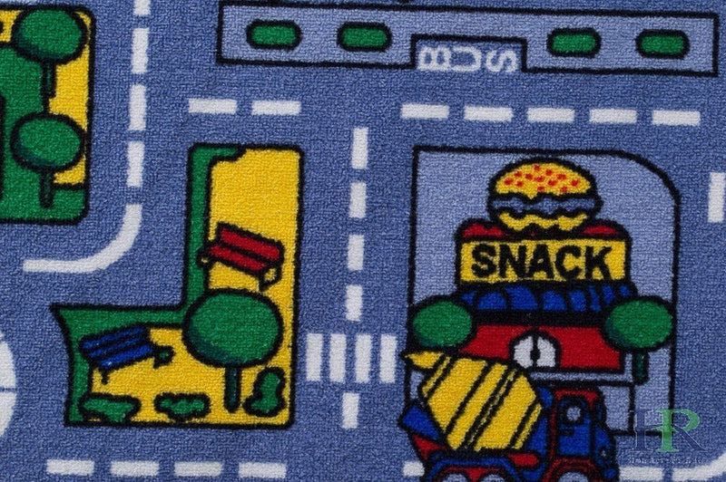 Road Mats by Handcraft Rugs-My Neighborhood Map/Blue/Grey and Multi color Anti Slip Rug / Car kids rugs Game Carpets for Kids Toy Kids learning rug Kids Floor Rug (Approximately 3 feet by 5 feet)