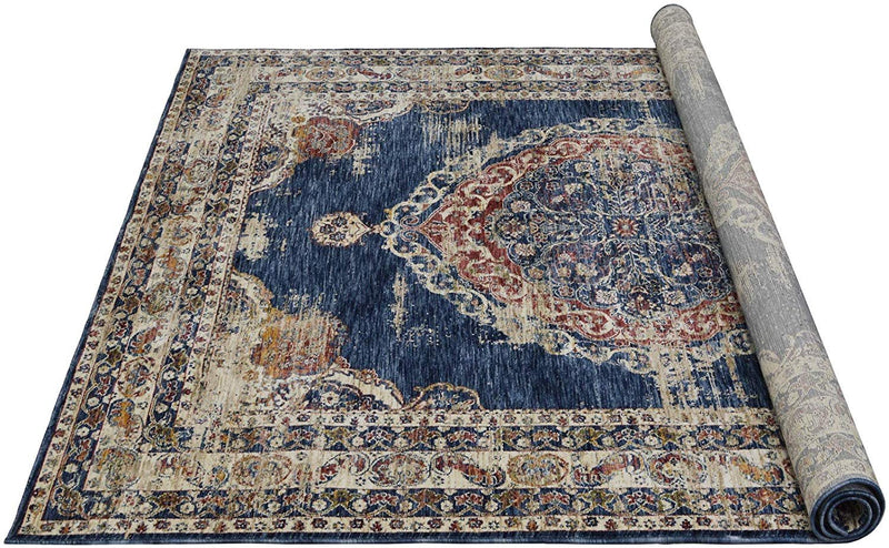 "Traditional Rugs/Fashion Home Oriental|Persian Vintage Area Rugs-Distressed Blue/Multi (7'9"" x10')"