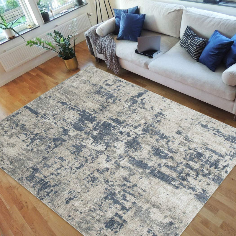 Midnight Blue/Beige Splash Abstract Explosion Pattern Distressed- Modern Vintage Area Rug