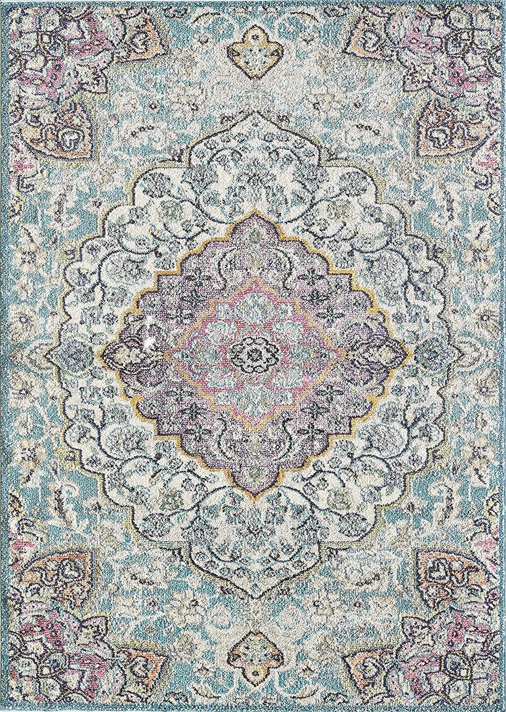 Faded Distressed Contemporary Vintage Persian Area Rug Aqua Blue/