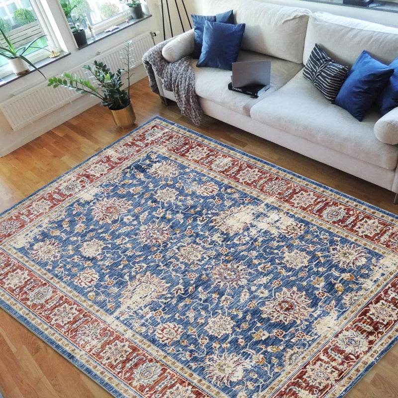 Vibrant Traditional Persian Area Rug-Cream/Orange/Green/Multi