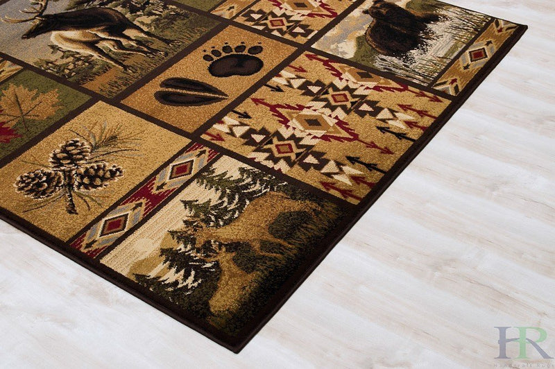 Cabin Area Rug – Modern Geometric South-western Design Cabin Area Rug – Abstract, Beige/Multicolor Design– Leafs/Nature/Bear/Deer/Foot Print