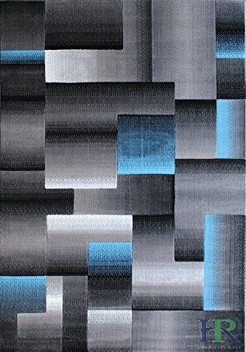 Blue/Grey/Silver/Black/Abstract Area Rug Modern Contemporary Geometric Cube and square Design Pattern Carpet