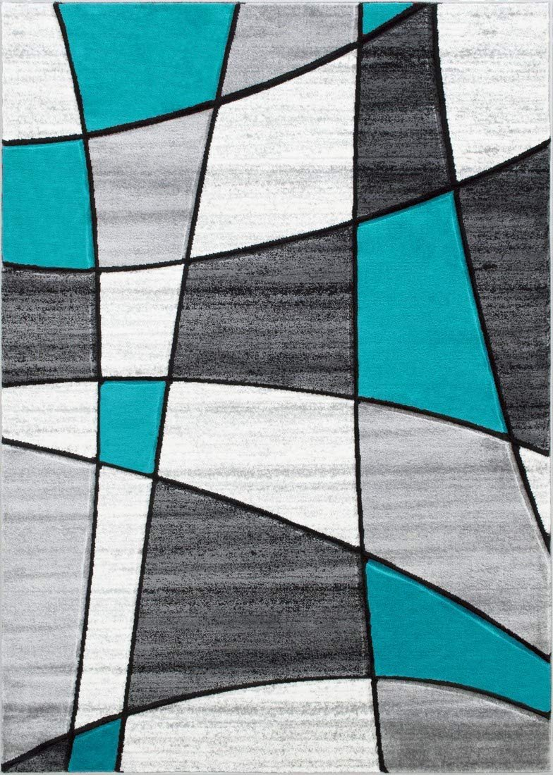 Color Block Rug/Linear/Geometric Modern Contemporary Hand Carved Area Rug-Silver/Turquoise/Gray/Black