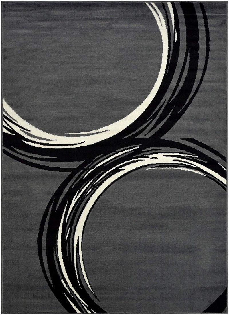 Circle Pattern Area Rug Geometric Contemporary Modern Black & Grey