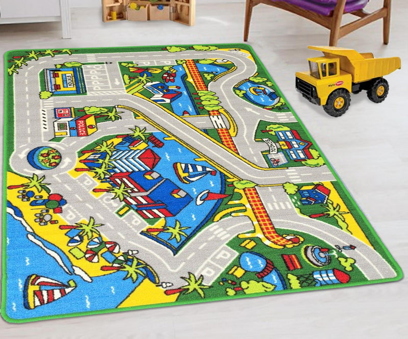 Kids Car Road Rugs City Map Play mat Classroom/Baby Room Non-Slip