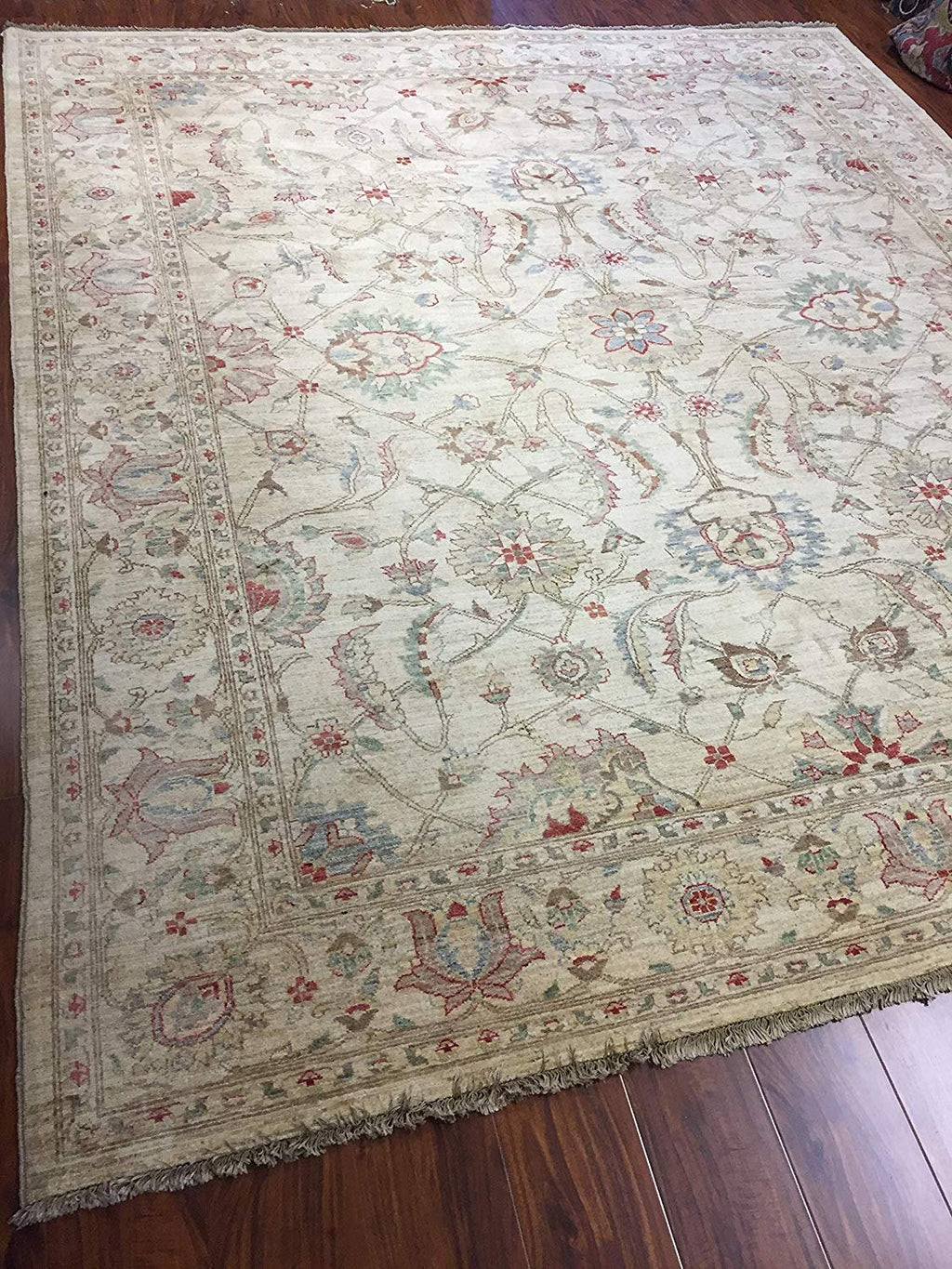 Authentic Handmade fine Pakistan Rug-Real Wool Ziegler Pattern Faded/Vintage-Beige/Multi-(8.1 by 9.4 Feet)