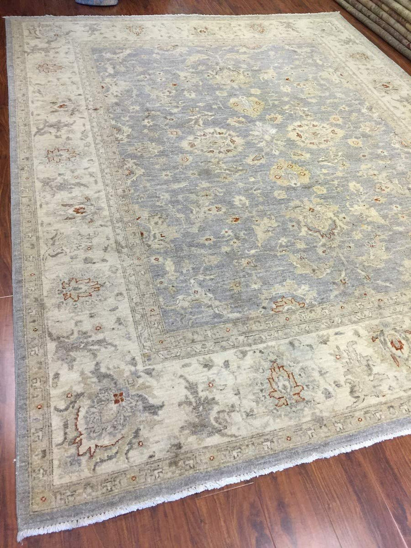 Hand Knotted Pakistani Rug-Allover Floral-Sky Gray/Ivory/Multi-(7.11 by 9.7 Feet)