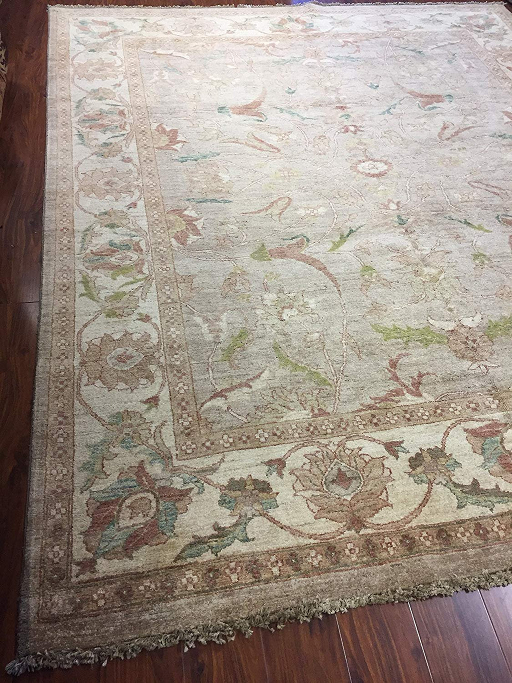 Authentic Handmade fine Pakistan Rug-Real Wool Allover Floral Pattern Faded/Vintage-Olive/Beige-(8.1 by 9.10 Feet)