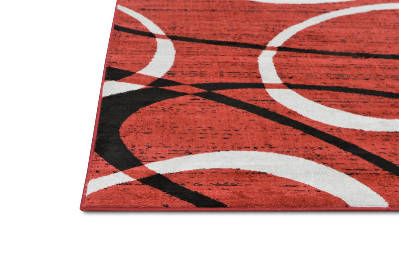 Modern Oval Pattern Soft Touch Rug – 5x7 Area Rugs, red Black and Grey