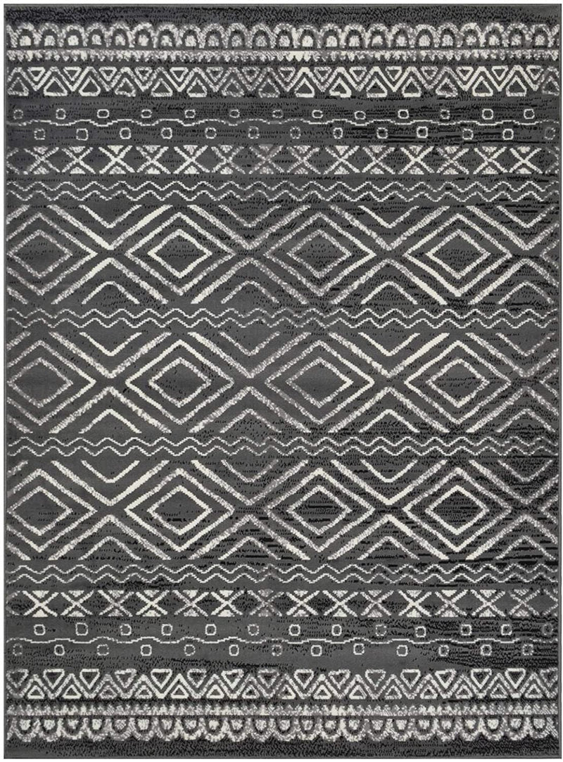Southwestern Rug for Living Room Antiqued Trellis Gray and White Area Rug Boho Décor Rugs for Bedroom