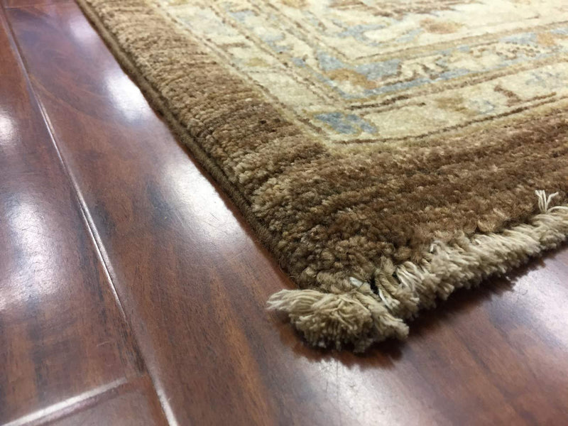 Hand Knotted Pakistani Rug-Ziegler-Brown/Cream/Multi-(11.7 by 9 Feet)