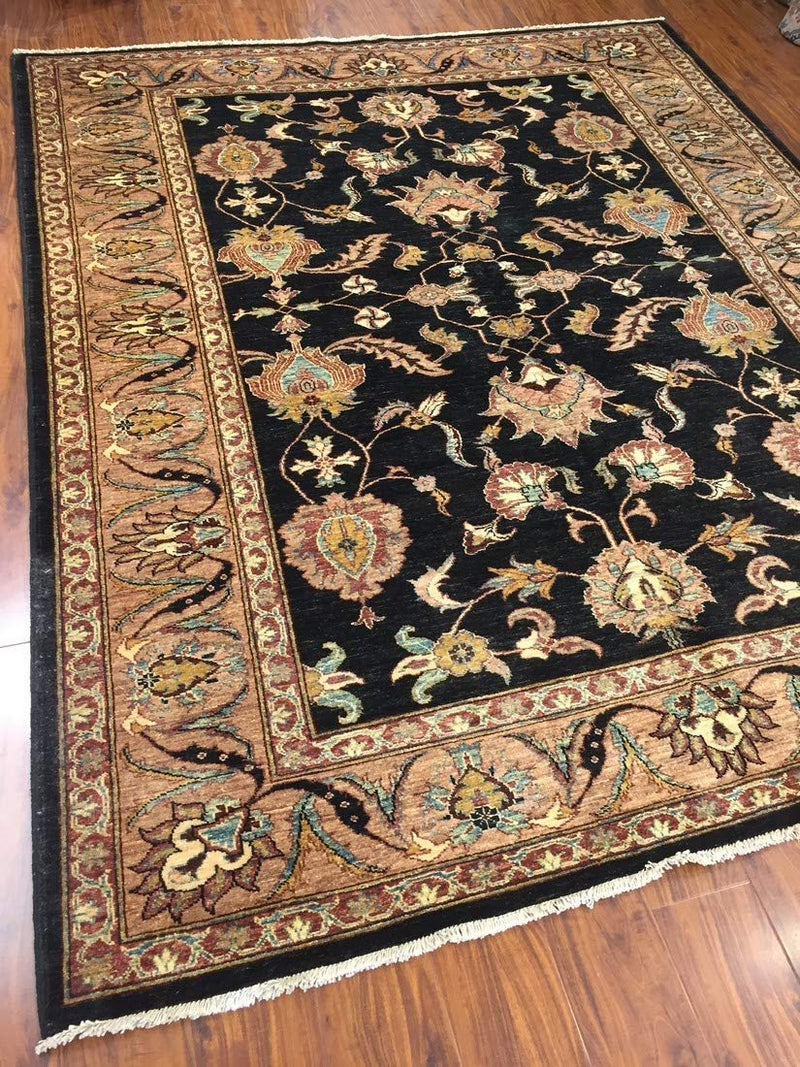 Authentic Handmade fine Pakistani Rug-Wool Allover/Floral Pattern-Black/Gold/Multi-(7 by 8.8 Feet)