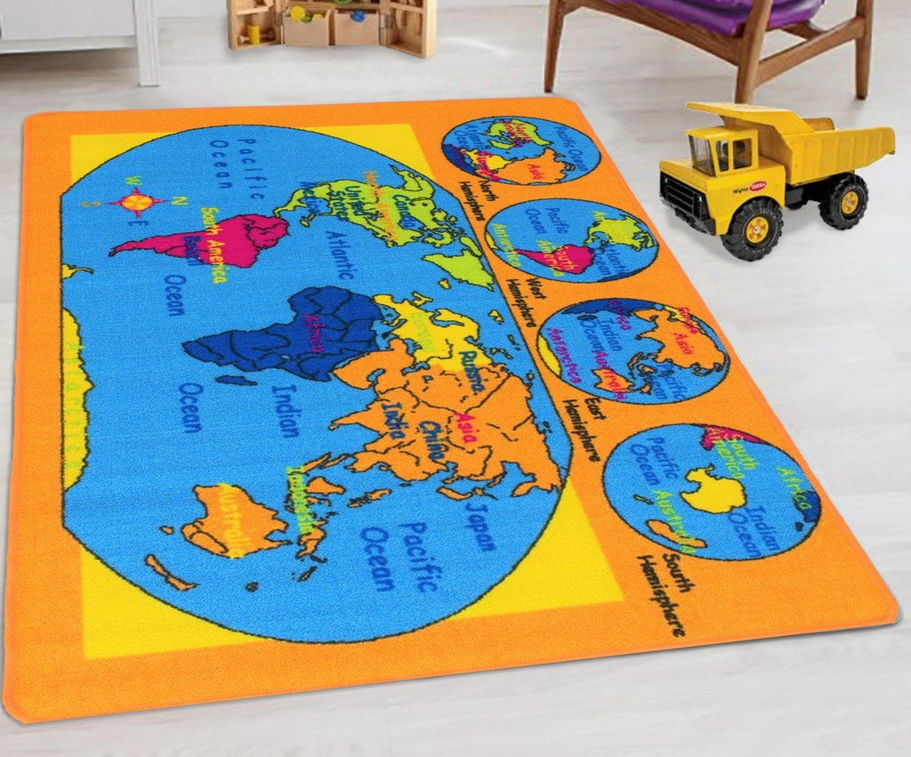 World Map Kids Educational play mat For School/Classroom / Kids Room/Daycare/ Nursery Non-Slip Gel Back Rug Carpet-(8 by 10 feet)