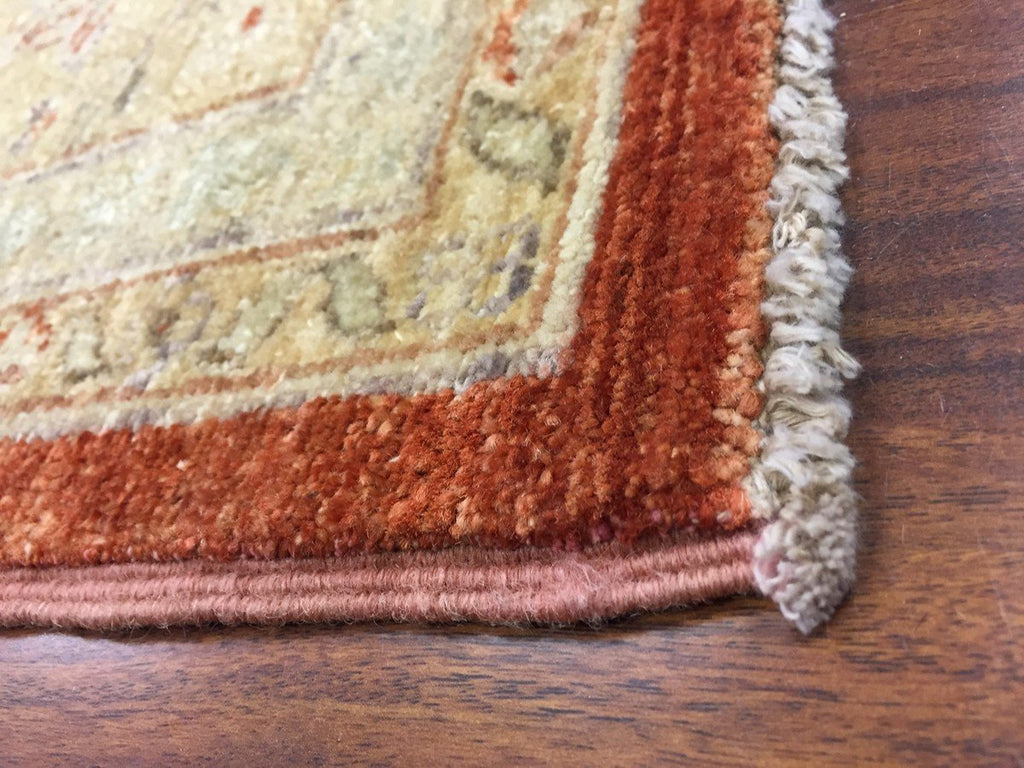 Authentic Handmade fine Pakistan Rug-Real Wool Ziegler/Geometric Pattern Faded/Vintage-Rust/Gold/Multi-(9 by 10.7 Feet)