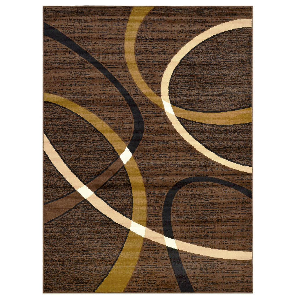 Geometric Stripes Area Rug 5x7 Oval Pattern Modern Brown Chocolate Carpet Comfy shed Free Stain Resistant