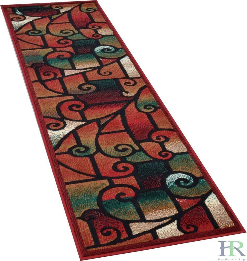 HR-Modern Contemporary Living Room Rugs-Abstract, Geometric Swirls Pattern-Red/Black/Sage/Beige/Multi (2'x7')