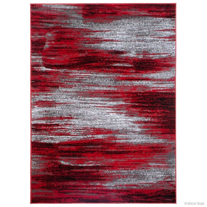 Red/Grey/Silver/Black/Abstract Contemporary Modern Design Mixed Brush Pattern Colors Area Rug