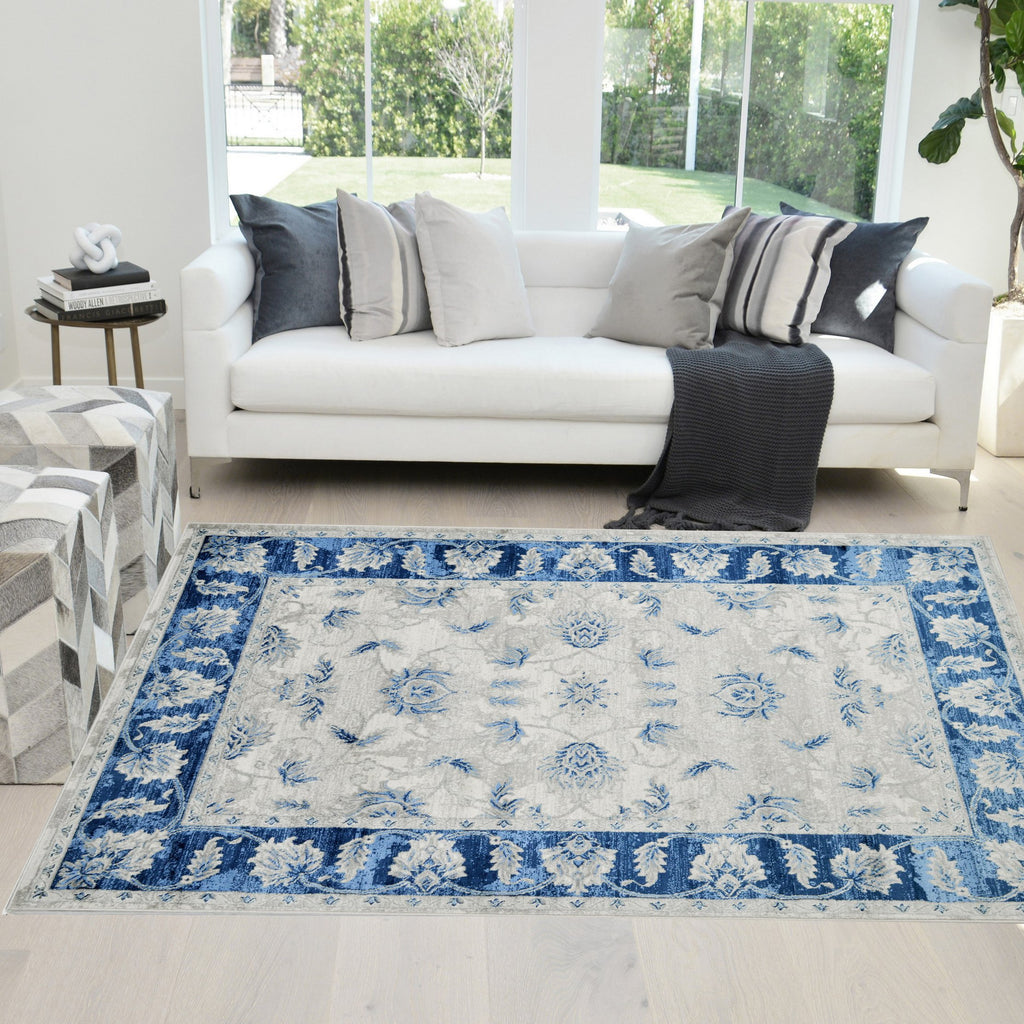 Modern Bohemian Soft Touch Rug  Area Rugs, Blue Silver and Gray