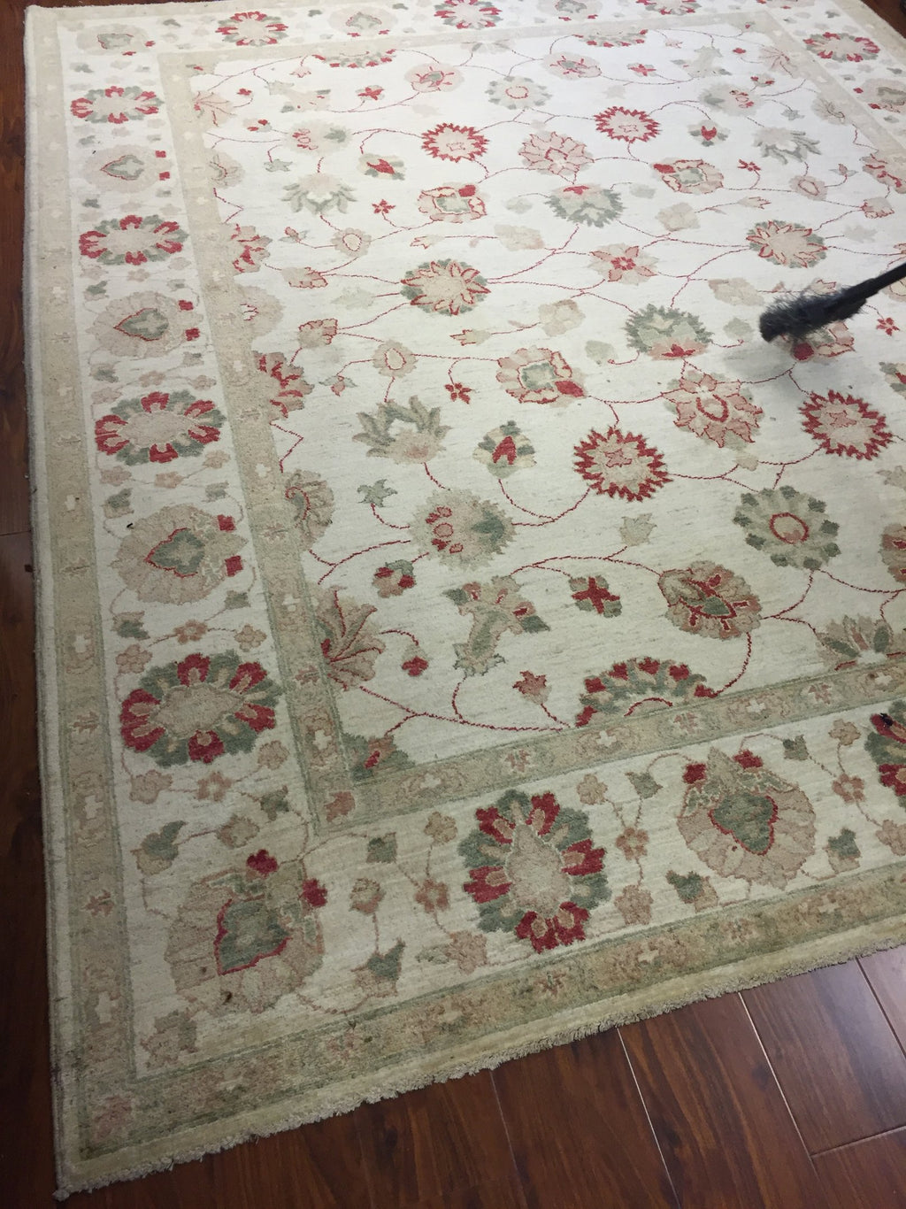 Authentic Handmade fine Pakistan Rug-Real Wool Allover Floral Pattern Faded/Vintage-Ivory/Multi-(8.2 by 9.10 Feet)