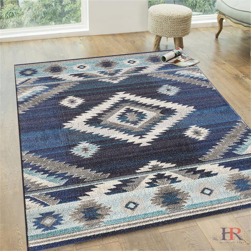 Southwestern Native American Modern/Faded Area Rug -Navy/Gray/Aqua