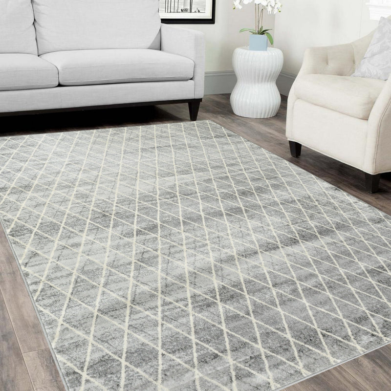 Southwestern Rugs/Luxury Living room Modern Soft-Red/Silver/Gray/White