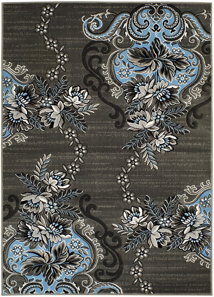 Blue/Grey/Silver/Black/Abstract Area Floral Pattern