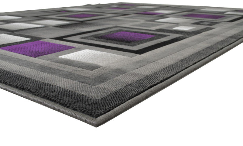 Purple and Gray Abstract Geometric Area Rug