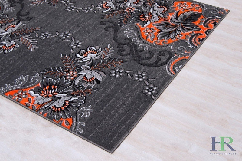 Orange/Grey/Silver/Black/Abstract Area Rug Floral Pattern