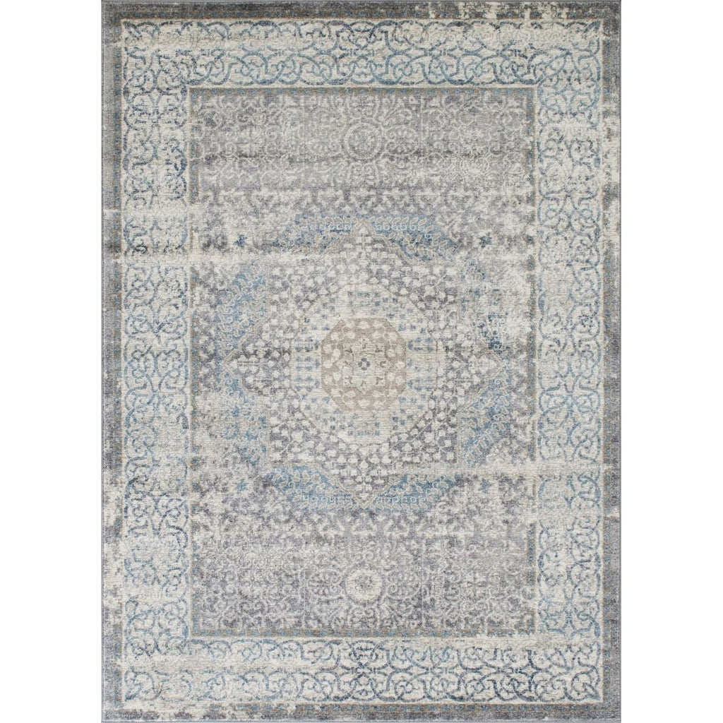 Silver/Ash Gray/Ivory/Light Blue-Faded, Oriental Distressed Ÿ?? Modern Vintage DesignŸ?? Abstract, Persian Rug