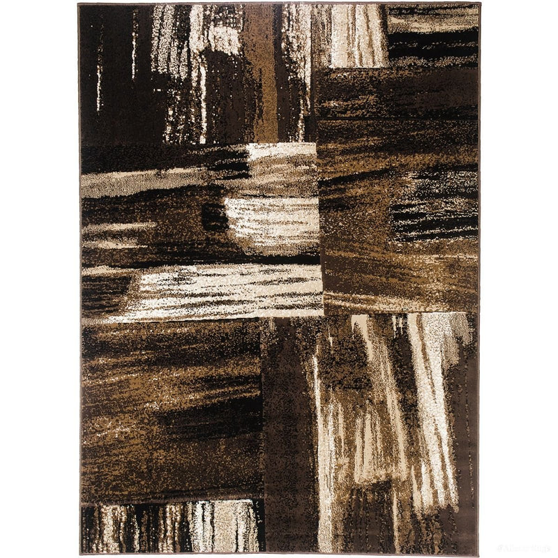Chocolate/Beige/ Gold/Abstract Contemporary Modern Design Mixed Brush Pattern Colors Area Rug