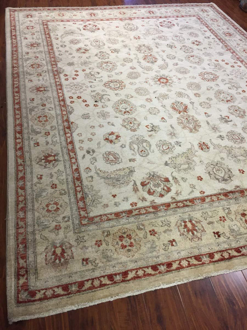 Authentic Handmade fine Pakistani Rug-Wool Allover/Floral Pattern-Ivory/Beige-(8.2 by 10.3 Feet)