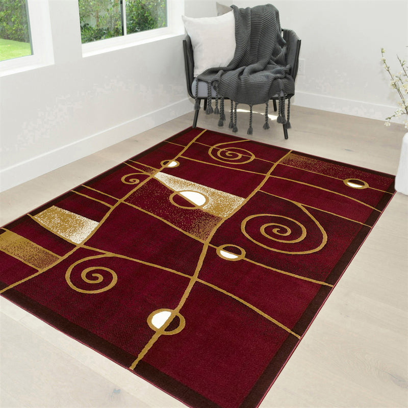 Circle Pattern Area Rug 5x7 Geometric Contemporary Modern red Black & Grey Carpet Comfy shed Free Stain Resistant