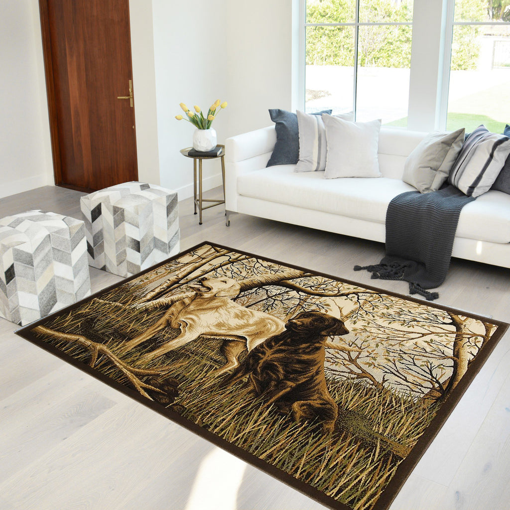 Lodge, Cabin Hunting Accent Area Rug