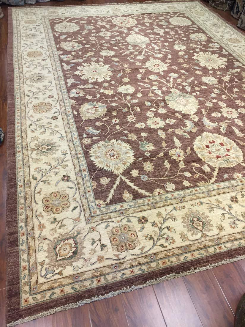 Authentic Handmade fine Pakistan Rug-Real Wool Allover Stone Washed-Chocolate/Beige-(10 by 14 Feet)