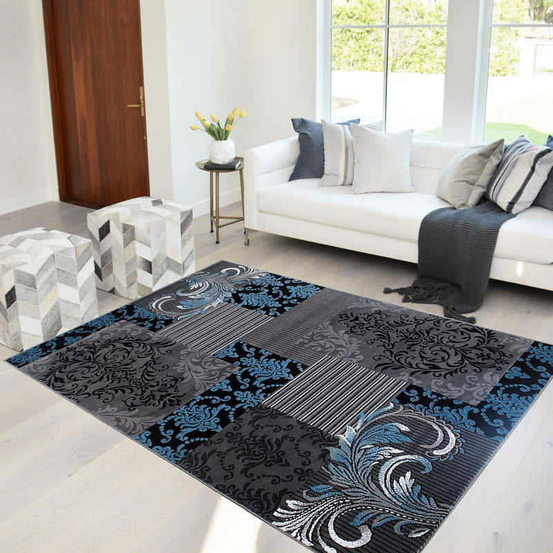 Blue Gray Silver Black Abstract Area Rug Modernpatchwork Pattern Frloral (5' x 7')