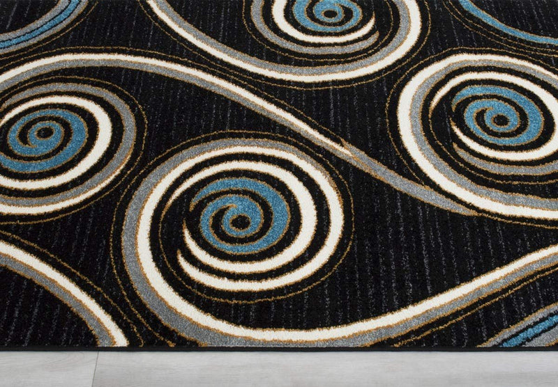 Swirls Pattern Peacock Design Area Rug Black/Blue