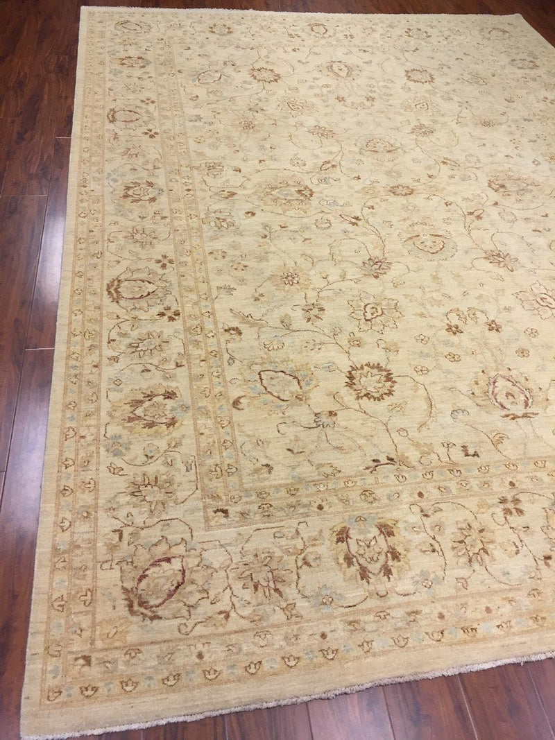 Authentic Handmade fine Pakistan Rug-Real Wool Allover Stone Washed-Ivory/Multi-(8.9 by 12.1 Feet)