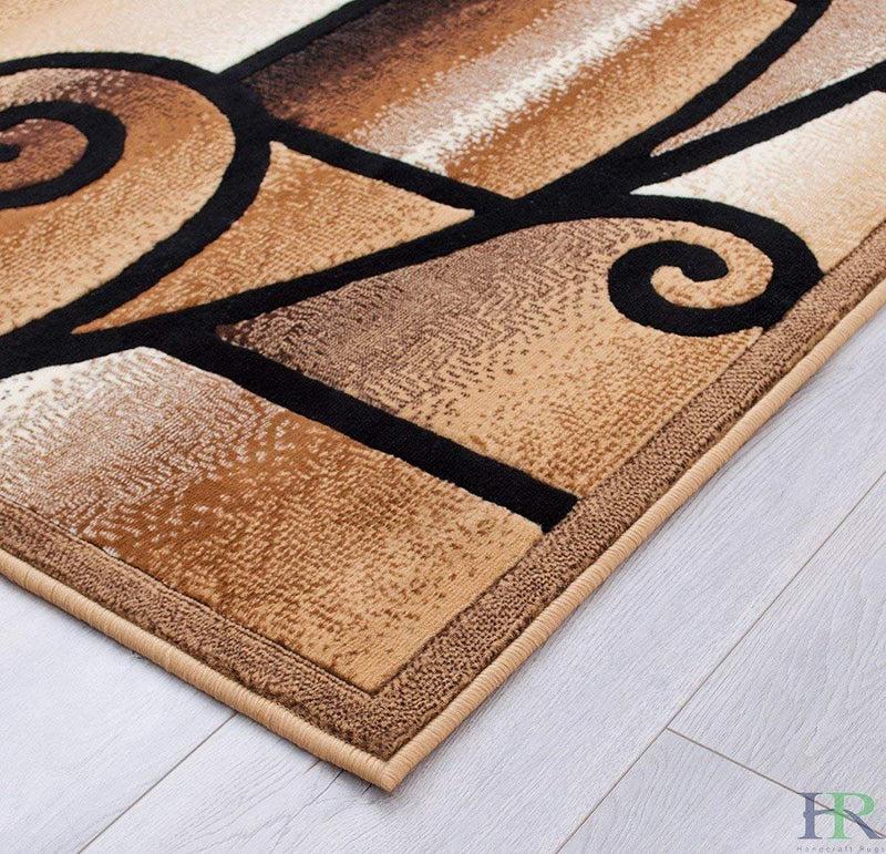 "HR-Modern Contemporary Living Room Rug-Abstract,Geometric Swirls Pattern-Berber/Beige/Ivory/Chocolate (1'96""x 3'3"")"