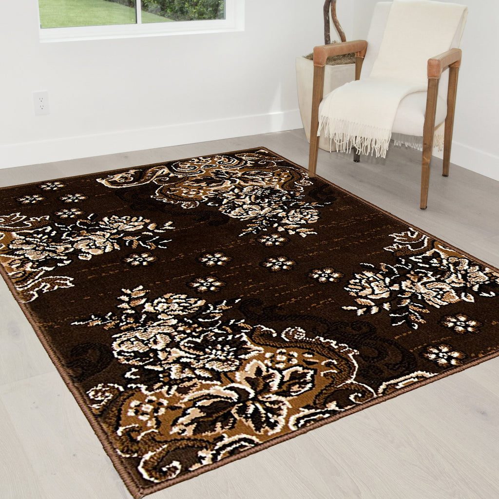Chocolate Brown/Beige/Mocha/Black/Abstract Area Rug Modern Contemporary Floral and Swirlls Design Pattern